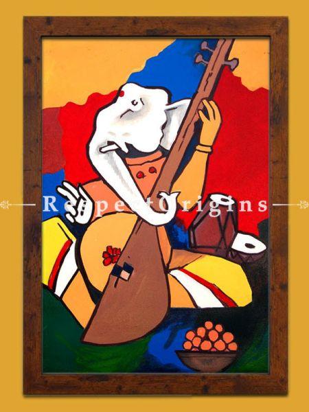 MF Husain Reproduction Ganesha the Musician Acrylic on Canvas Modern Art Painting 18x24 in
