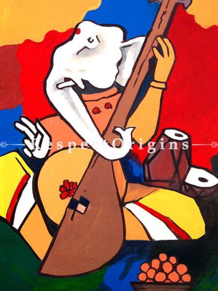 MF Husain Reproduction Ganesha the Musician Acrylic on Canvas Modern Art Painting 18 X 24 inches RespectOrigins
