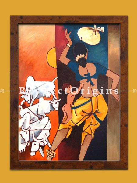 M.F Hussain Reproduction Mother and Child Acrylic on Canvas  Modern Art Painting 27x21 in