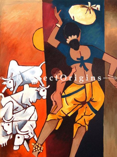 M.F Hussain Reproduction Mother and Child Acrylic on Canvas Modern Art Painting 27 x 21 inches RespectOrigins