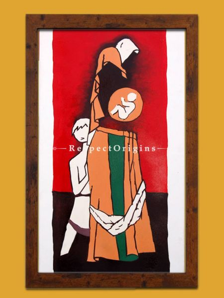 M.F Hussain Reproduction of a Women Carrying a baby in her womb, Acrylic on Canvas Modern Art Painiting: 18x32 in 