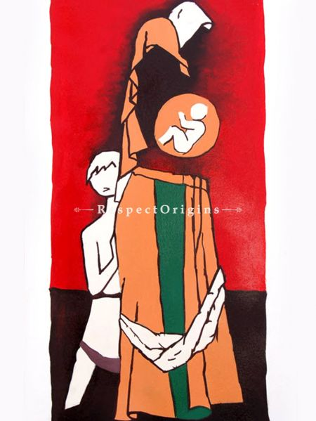 M.F Hussain Reproduction of a Women Carrying a baby in her womb, Acrylic on Canvas Modern Art Painiting: 18 x 32 inches RespectOrigins