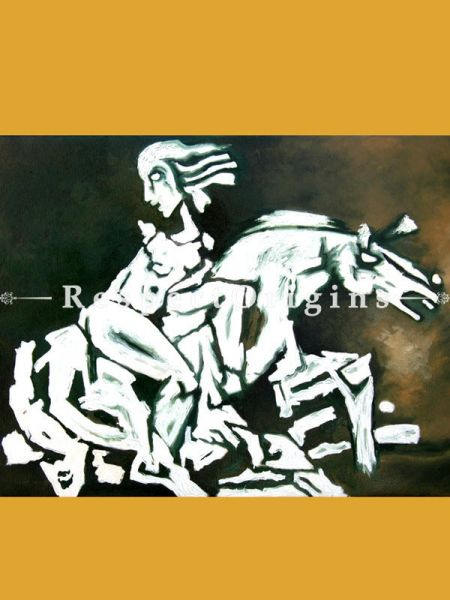 M.F Hussain Reproduction White Horses Acrylic on Canvas Modern Art Painting 2 X 3 Feet RespectOrigins