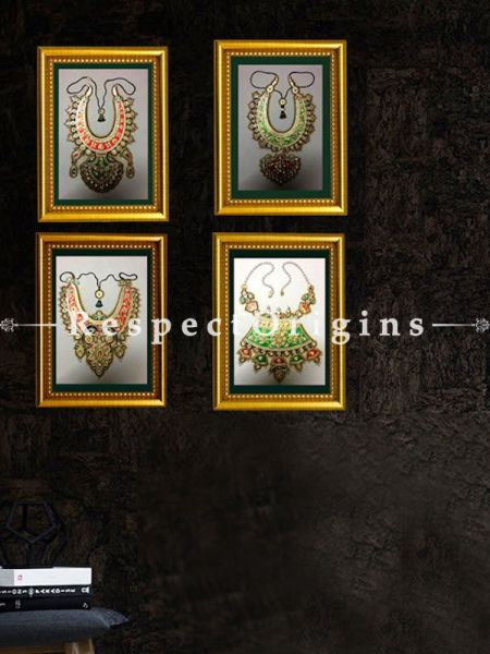 Buy Set of 4 Gem-Studded Marble Jewelry Miniature Paintings 6X8 inches; Vertical; Traditional Rajasthani Wall Art at RespectOrigins.com