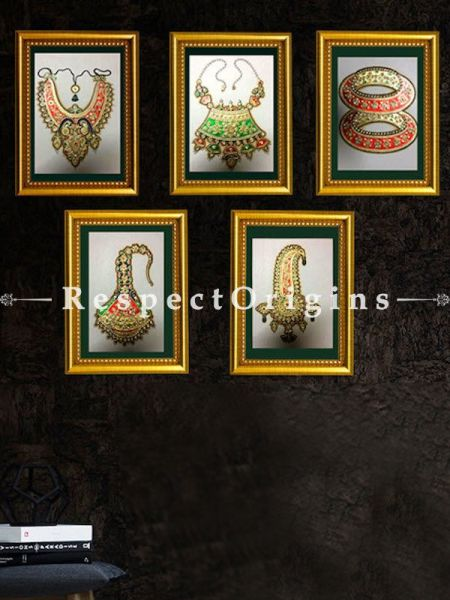 Buy Set of 5 Miniature Marble inlay jewelry Paintings 6X8 inches; Vertical; Traditional Rajasthani Wall Art at RespectOrigins.com