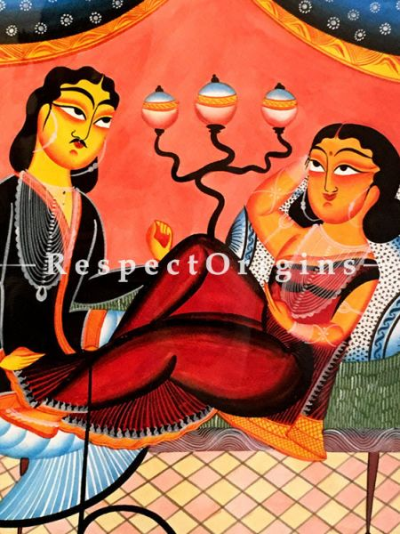 Moments; Traditional Kalighat Painting On Paper Using Natural Colour; Vertical Folk Art of Bengal; 22 X 15 inches; RespectOrigins