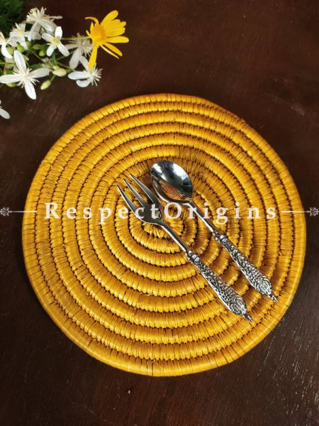 Marigold Yellow Braided Organic Natural Moonj Grass Place Mats or Hot Plates. at respect origins.com