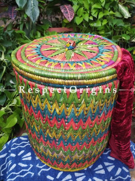 Happy Spring Greens Laundry Basket with Lid; Hand-braided Natural Moonj Grass at Respectorigins.com