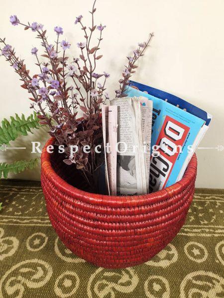 Red Magazine Bin Basket; Hand-braided Natural Moonj Grass at respect origins.com
