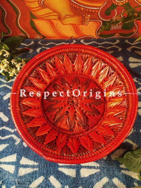 Buy Gorgeous Handwoven Red Organic Moonj Grass Fruit or Oval Bread Basket at RespectOrigins.com