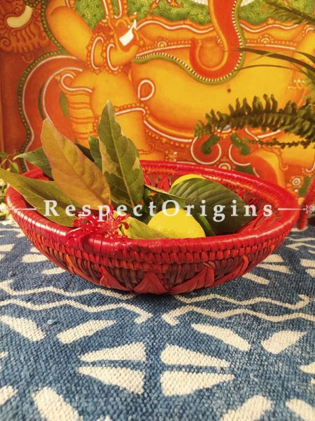 Gorgeous Handwoven Red Organic Moonj Grass Fruit or Oval Bread Basket; height 4 x Inches diameter 12 Inches