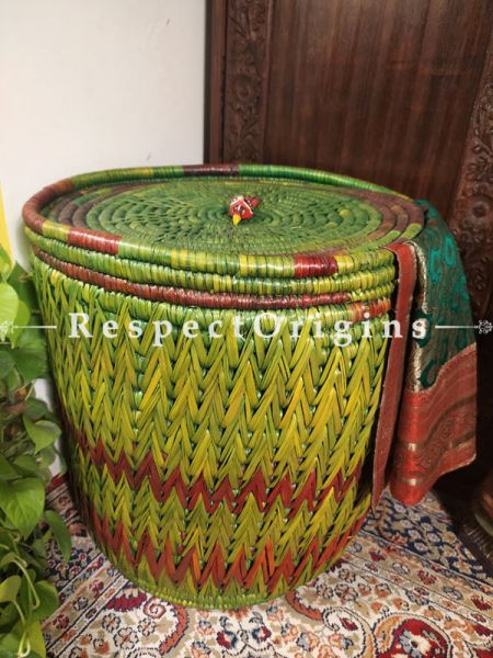 Earthy Brown and Moss Green Laundry Basket with Lid; Hand-braided Natural Moonj Grass at Respectorigins.com