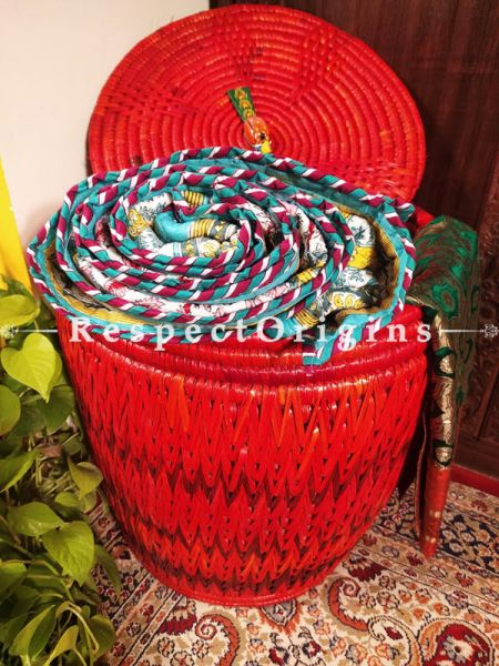 Watermelon Red Laundry Basket with Lid; Hand-braided Natural Moonj Grass at Respectorigins.com