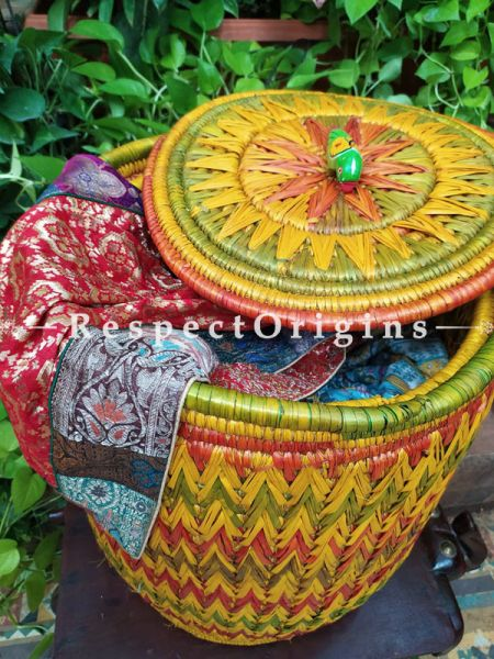 Colourful Yellow, Green and Red Laundry Basket with Lid; Hand-braided Natural Moonj Grass at Respectorigins.com