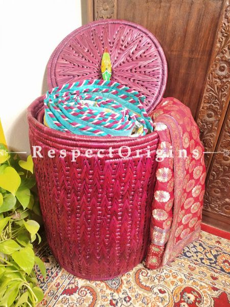 Buy Magenta Laundry Basket With Lid; Hand-Braided Natural Moonj Grass; 21X16 In; Zig Zag Online  at RespectOrigins.com