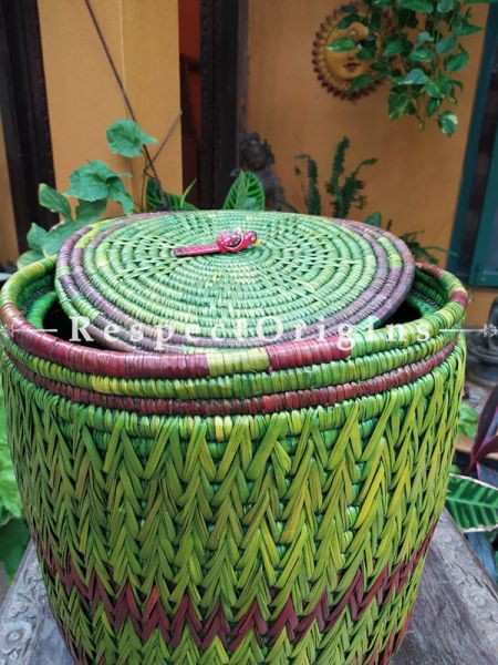 Green and Maenta Laundry Basket with Lid; Hand-braided Natural Moonj Grass; 19X19 Inches; RespectOrigins.com