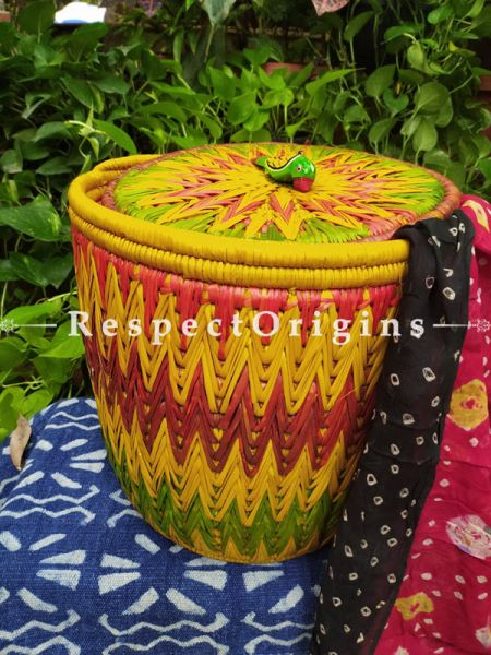Buy Green, Yellow & Red Laundry Basket With Lid; Hand-Braided Moonj Grass;16X15 In; Zig Zag Online  at RespectOrigins.com