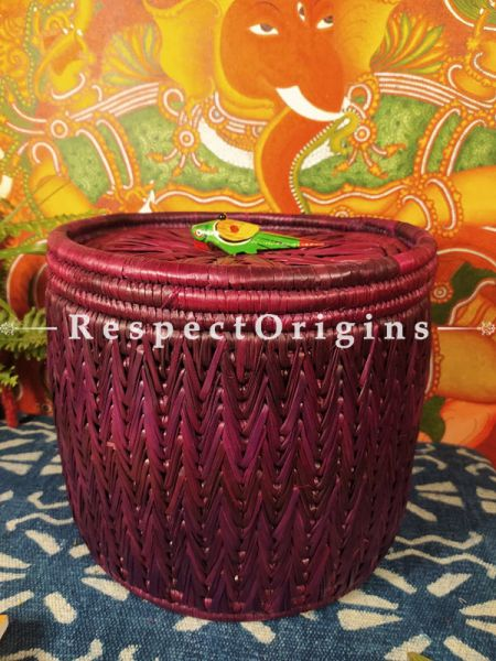 Crimson Laundry Basket with Lid; Hand-braided Natural Moonj Grass at respect origins.com