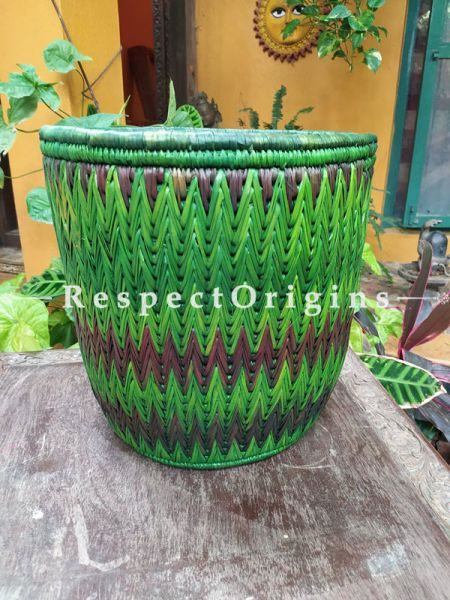Green Laundry Basket with Lid; Hand-braided Natural Moonj Grass; 16X16 Inches; RespectOrigins.com