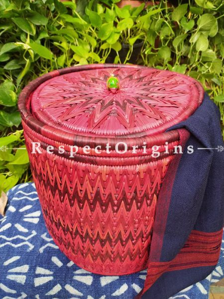 Buy Magenta Laundry Basket With Lid; Hand-Braided Moonj Grass;16X15 In;Zig Zag Design Online  at RespectOrigins.com