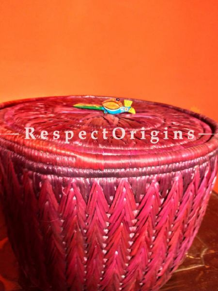 Magenta Red Laundry Basket with Lid; Hand-braided Natural Moonj Grass; 15X12 Inches; RespectOrigins.com