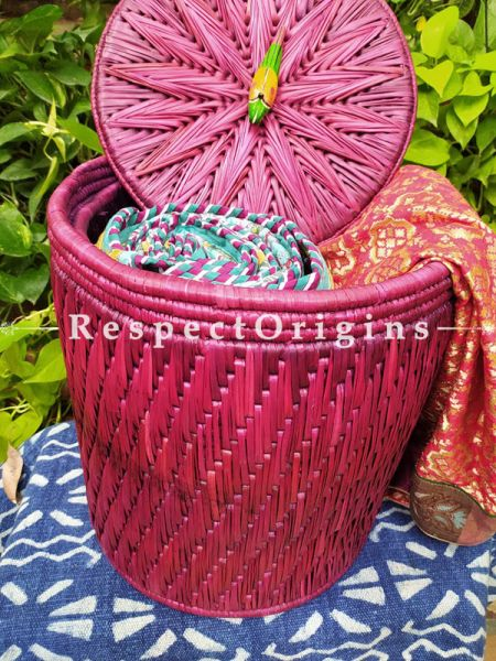 Buy Fuschia Pink Laundry Basket With Lid; Hand-Braided Natural Moonj Grass; 16X15 In Online  at RespectOrigins.com