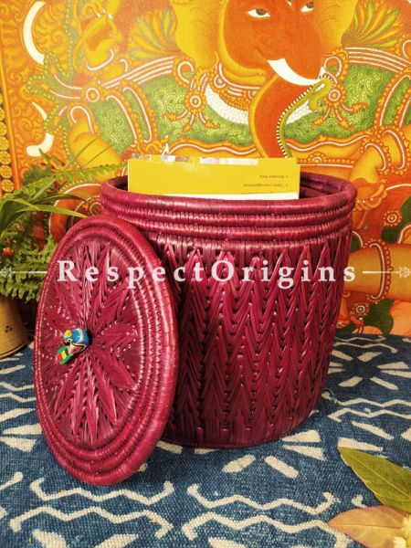 Cabernet Maroon Hand-braided Natural Moonj Grass Laundry Baskets with Lid. at respect origins.com