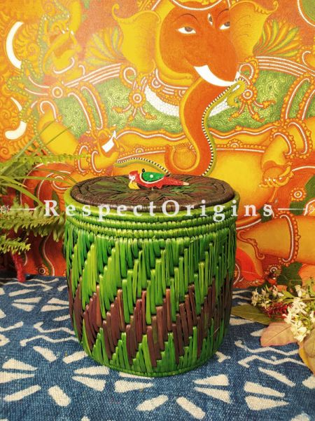 Buy Green Laundry Basket with Lid; Hand-braided Natural Moonj Grass;At RespectOrigins
