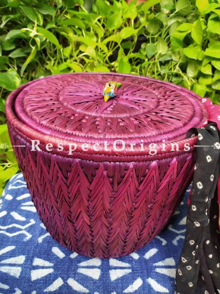 Plum Laundry Basket with Lid; Hand-braided Natural Moonj Grass at Respectorigins.com