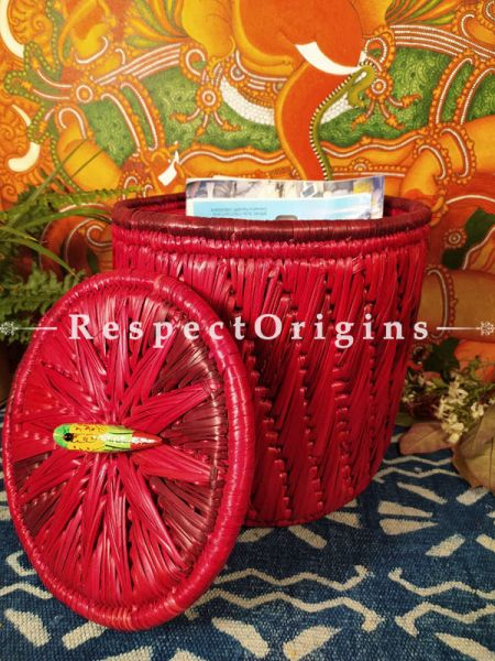 Buy Magenta Laundry Basket with Lid;At RespectOrigins