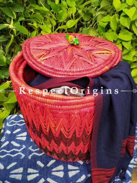 Buy Magenta Laundry Basket With Lid; Hand-Braided Natural Moonj Grass; 15X15 In Online  at RespectOrigins.com