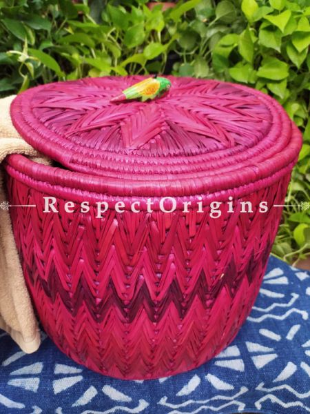 Fuschia Pink Laundry Basket with Lid; Hand-braided Natural Moonj Grass at Respectorigins.com