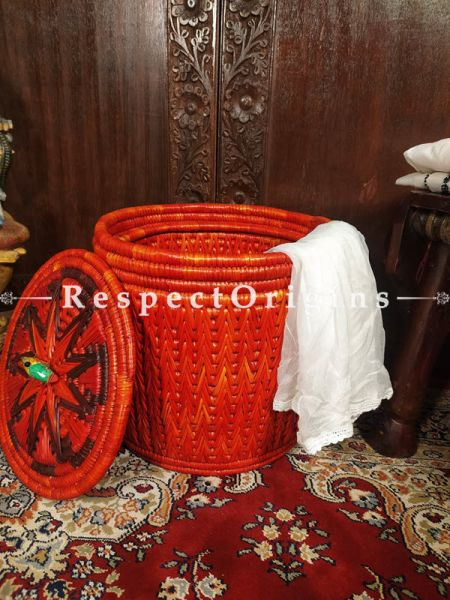 Tangerine Orange Laundry Basket with Lid; Hand-braided Natural Moonj Grass at Respectorigins.com