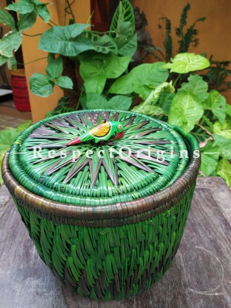 Green Laundry Basket with Lid; Hand-braided Natural Moonj Grass; 9X11 Inches; RespectOrigins.com