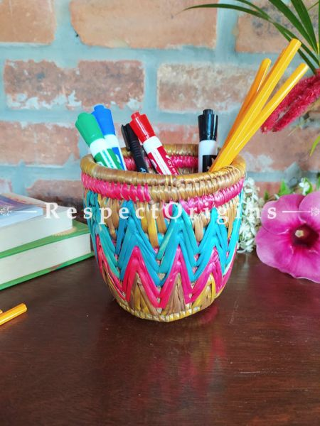 Blue and Pink Pencil or Cutlery Holder in Organic Natural Hand-braided Moonj Grass at respect origins.com