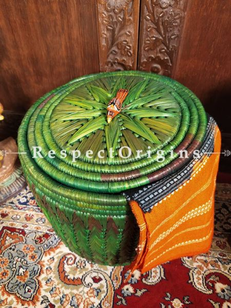 Mango Green Laundry Basket with Lid; Hand-braided Natural Moonj Grass at Respectorigins.com