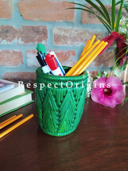 Aqua Pencil or Cutlery Holder in Organic Natural Hand-braided Moonj Grass