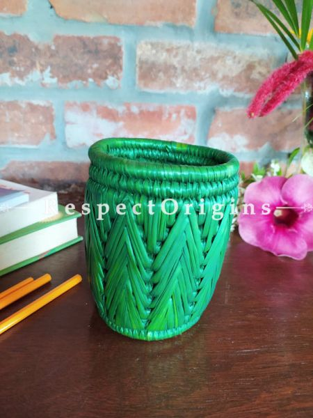 Buy Aqua Pencil or Cutlery Holder in Organic Natural Hand-braided Moonj Grass at RespectOrigins.com