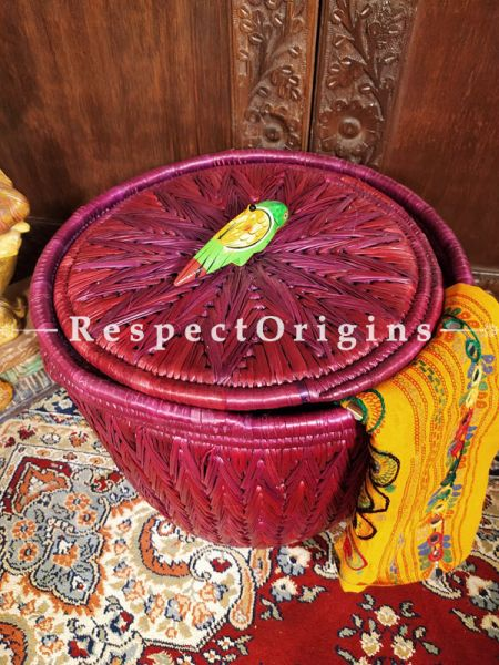 Maroon, Natural,  Organic Hand-braided Laundry Basket with Lid. at Respectorigins.com