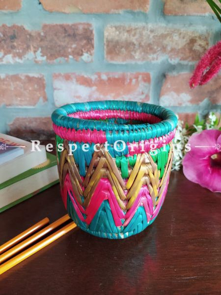 Blue, Yellow and Pink Pencil or Cutlery Holder in Organic Natural Hand-braided Moonj Grass at respect origins.com