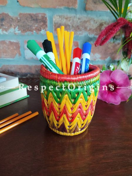 Colourful Green, Yellow and Red Pencil or Cutlery Holder in Organic Natural Hand-braided Moonj Grass at respect origins.com