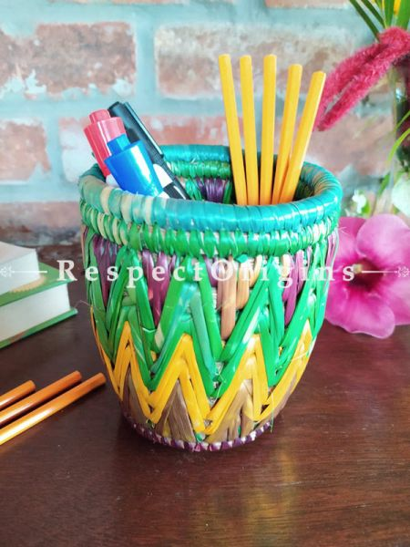 Multicoloured Blue and Pink Pencil or Cutlery Holder in Organic Natural Hand-braided Moonj Grass