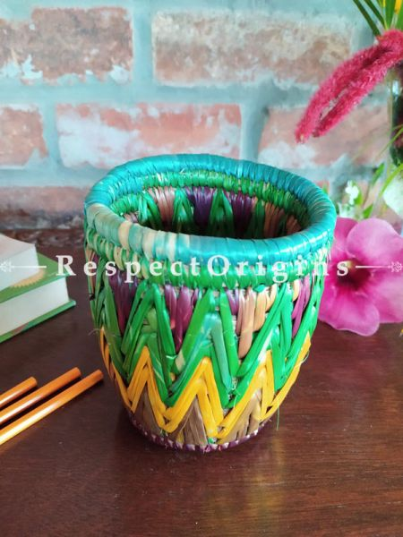 Buy Multicoloured Blue and Pink Pencil or Cutlery Holder in Organic Natural Hand-braided Moonj Grass at RespectOrigins.com
