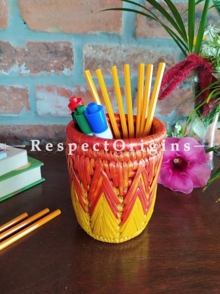 Brown and Yellow Pencil or Cutlery Holder in Organic Natural Hand-braided Moonj Grass