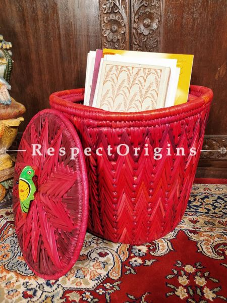 Buy Red Laundry Basket with Lid; Hand-braided Natural Moonj Grass;At RespectOrigins