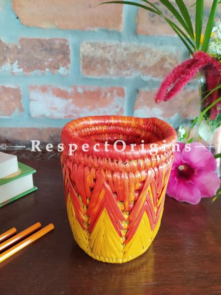 Buy Brown and Yellow Pencil or Cutlery Holder in Organic Natural Hand-braided Moonj Grass at RespectOrigins.com