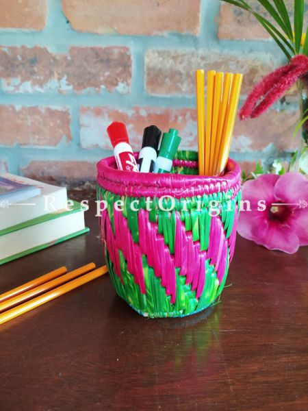 Green and Pink Pencil or Cutlery Holder in Organic Natural Hand-braided Moonj Grass