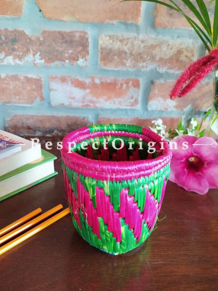 Buy Green and Pink Pencil or Cutlery Holder in Organic Natural Hand-braided Moonj Grass at RespectOrigins.com