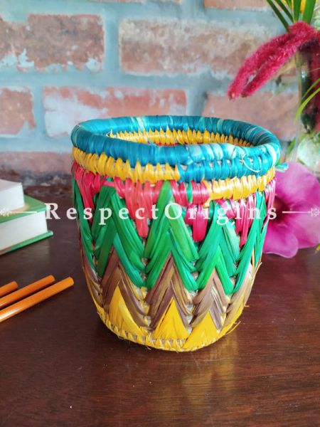Multicoloured Blue and Pink Pencil or Cutlery Holder in Organic Natural Hand-braided Moonj Grass at respect origins.com