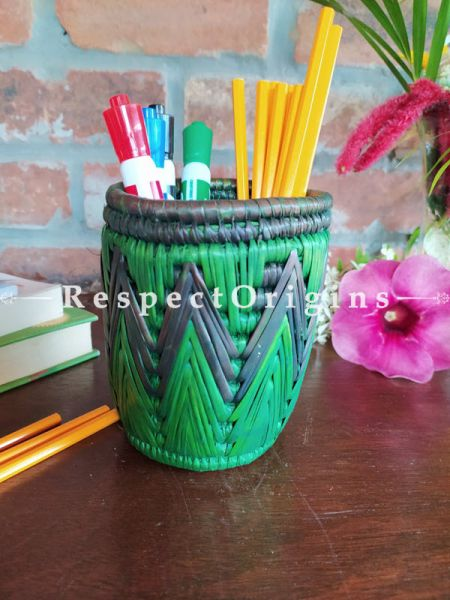 Green and Blue Pencil or Cutlery Holder in Organic Natural Hand-braided Moonj Grass